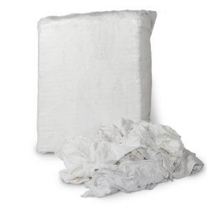 vita trikåtrasor i säck, luddfria trasor av bomull