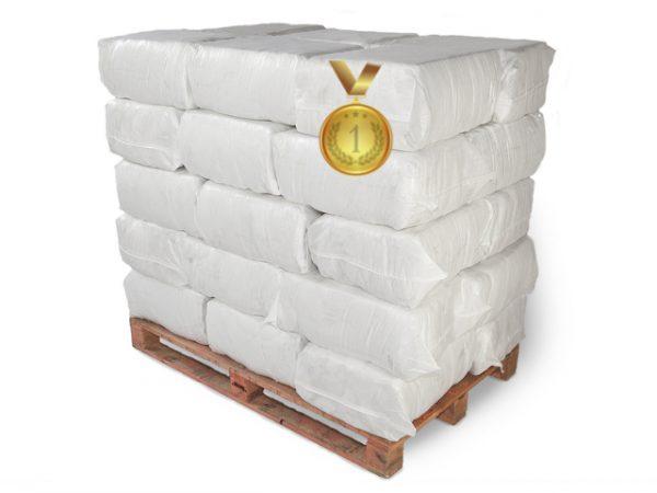 Vita trasor handduksfrotté i säck, 180 kg på pall