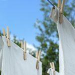 Tvättsträck med lakan tvättade med miljövänligt tvättmedel