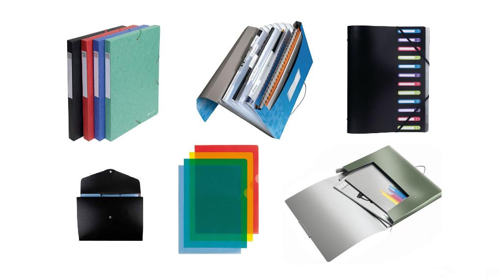 Olika typer av mappar: plastmapp, projektmapp, klämmapp, snoddmapp, offertmapp med flera