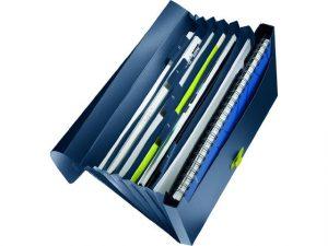 blå projektmapp - plastmapp med många olika fack