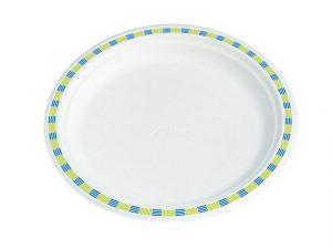 plasttallrik vit blå och gul